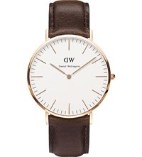 Daniel Wellington 0109Dw Bristol Rose Gold Plated And Leather Watch