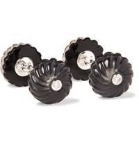 Trianon 18 Karat White Gold Onyx And Diamond Cufflinks Silver