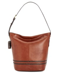 Tignanello Classic Boho Vintage Leather Bucket Bag Rust Dark Brown