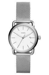 Fossil Women's The Commuter Mesh Strap Watch 34Mm Silver