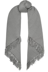 Isabel Marant Zila Fringed Cashmere And Wool Blend Scarf Gray