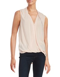 Velvet By Graham And Spencer Sleeveless Wrap Front Blouse Pale Pink