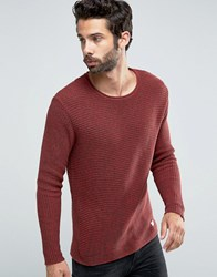 Only And Sons Ribbed Knitted Jumper Red