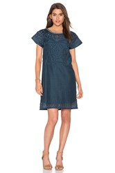 Twelfth St. By Cynthia Vincent Cut Out Embroidery Dress Navy