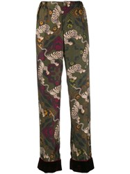 F.R.S For Restless Sleepers Tiger Print Trousers Green