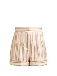Peter Pilotto High Rise Striped Shorts Pink Multi