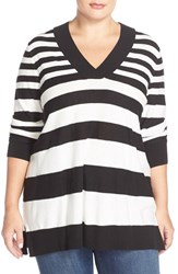 Plus Size Women's Sejour V Neck Sweater Black Ivory Varigated Stripe