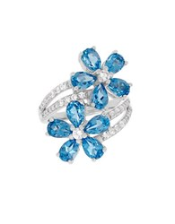 Lord And Taylor Swiss Blue Topaz White Topaz Sterling Silver Floral Ring