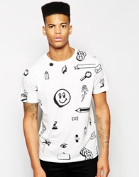 Lazy Oaf T Shirt With Clip Art Print White
