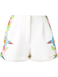 Manish Arora Tropical Print Shorts Women Nylon Spandex Elastane Rayon 40 White