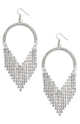 Leith Crystal Fringe Earrings Silver Crystal