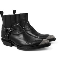 Balenciaga Santiag Embellished Leather Boots Black