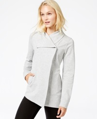 Kensie Ponte Knit Snap Jacket Heather Cloudy Combo