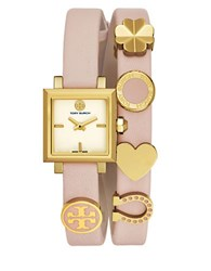 Tory Burch The Saucy Leather Strap Watch Pink