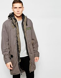 G Star G Star Parka Jacket Submarine Detatchable Hood And Quilted Gilet In Carbid Grey
