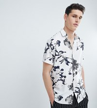 Selected Homme Short Sleeve Viscose Shirt With All Over Print Hushed Violet White