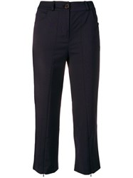 Aalto Cropped Slim Fit Trousers Blue