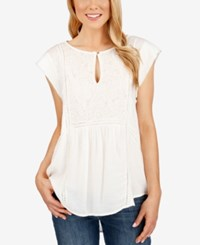 Lucky Brand Cap Sleeve Mixed Media Top Whisper White