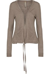 Soyer Paneled Linen Cashmere And Silk Blend Cardigan Taupe