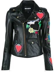 House Of Holland Heart Patches Biker Jacket Black
