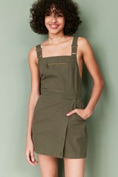 Bdg Jessy Wrap Front Overall Mini Dress Olive