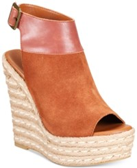 Mojo Moxy Omega Espadrille Wedge Sandals Women's Shoes Cognac