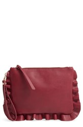Sole Society Adelina Faux Leather Ruffle Clutch Red Berry
