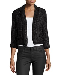 Milly Cropped Boucle Blazer Black