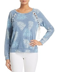 Billy T Printed Lace Up Sweatshirt Blue Tropical Breeze