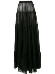 Saint Laurent Maxi Sheer Skirt Black