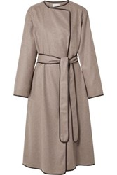 The Row Helga Leather Trimmed Cashmere Coat Mushroom