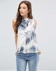 B.Young High Neck Tie Dye Top Evening Blue