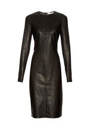 Givenchy Long Sleeved Leather Pencil Dress Black