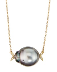Mizuki 14K Gold Diamond Leaf And Black Tahitian Pearl Necklace