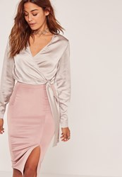 Missguided Grey Long Sleeve Satin Wrap Front Cropped Blouse