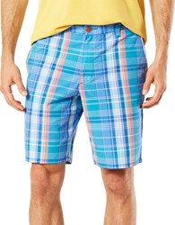 Dockers Premium Edition Cotton Blend Check Shorts Aqua