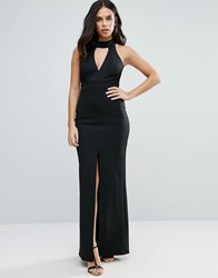 Jessica Wright Maxi Dress With Front Split And Lace Detail Black