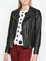 Reiss Shelby Leather Jacket Black