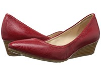 Cole Haan Tali Luxe Wedge 40 Red Molten Lava Lizard Women's Slip On Dress Shoes