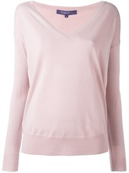 Ralph Lauren Deep V Neck Sweater Pink And Purple