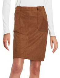 Bb Dakota Faux Suede A Line Skirt Tan