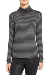 Strom Kitta Metallic Stripe Stretch Knit Turtleneck Black
