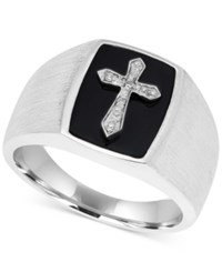 Macy's Men's Onyx And Diamond Accent Cross Ring In Sterling Silver Black