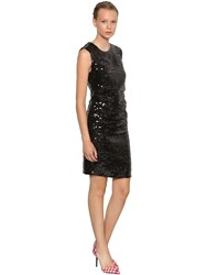 Msgm P.M. Sequined Mini Dress Black
