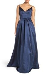 Hayley Paige Occasions Women's Sweetheart Neck Satin A Line Gown Indigo