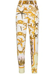 Versace High Rise Jeans With Marine Print Yellow And Orange
