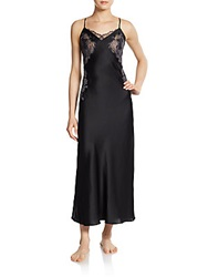 Natori Lolita Lace Paneled Silk Satin Long Gown Black