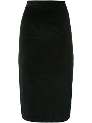 Olympia Le Tan Pencil Skirt With Pleated Back Women Cotton 40 Black