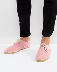 Asos Lace Up Espadrilles In Pink Faux Suede Pink