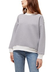 Jaeger Sculpted Striped Sweatshirt Ivory